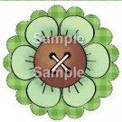 Green Flower Green Plaid Bright Button Flower ~ Cupcake Toppers ~ Set of 1 Dozen