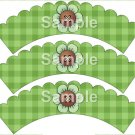 Green Flower Green Plaid Bright Button Flower ~ Cupcake Wrappers ~ Set of 1 Dozen