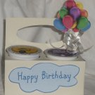 Happy Birthday Cream/White & Blue with Balloons ~ K-Cup Gift Holder