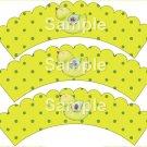 Song Bird Green ~ Cupcake Wrappers ~ Set of 1 Dozen