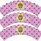 Song Bird Button Flower Purple ~ Cupcake Wrappers ~ Set of 1 Dozen