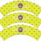 Song Bird Button Flower Green ~ Cupcake Wrappers ~ Set of 1 Dozen