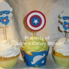 Captain America Baby ~ Cupcake Toppers & Matching Wrapper Set ~ 1 Dozen