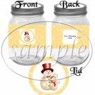 Orange Snowflake Snowman ~ Pint Glass Jar Label