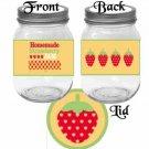 Homemade Strawberry Jam ~ Pint Glass Jar Label