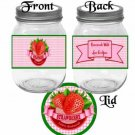 Made With Love Just for You Strawberry Jam ~  Pint Glass Jar Label