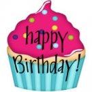 Aqua Base Happy Birthday Cupcakes ~ 3D Gift Treat Tote ~ Set of 1 Dozen