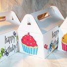 Aqua Base Happy Birthday Cupcakes ~ MINI Gable Gift or Snack Box Full Size
