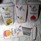 Aqua Base Happy Birthday Cupcakes  ~ Standard Size Gift Card Holder Latte` Cup