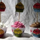 Variety of all Color Happy Birthday Cupcakes ~ Cupcake Wrappers & Topper Set ~ Set of 1 Dozen
