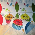 Aqua Base Happy Birthday Cupcakes ~ Pillow Treat Gift Box Each