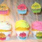 Happy Birthday Cupcakes #2~ Cupcake Wrappers ~ Set of 1 Dozen