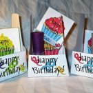 Green Base Happy Birthday Cupcakes ~ Nail Polish Holder Gift Box ~ Large