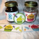 Green Base Happy Birthday Cupcakes ~  Pint Glass Jar Label