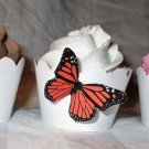 Dark Orange Mini 3D Butterfly Cupcake Wrapper, Butterflies Scalloped Edge, Birthday, Mother's Day