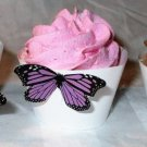 Purple Mini 3D Butterfly Cupcake Wrapper, Butterflies Straight Edge, Birthday, Mother's Day