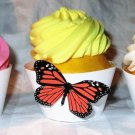Dark Orange Standard 3D Butterfly Cupcake Wrapper, Butterflies Straight Edge, Birthday, Mother's Day