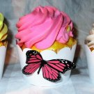 Pink Standard 3D Butterfly Cupcake Wrapper, Butterflies Scalloped Edge, Birthday, Mother's Day