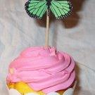 Aqua Scalloped Standard Size 3D Butterfly Cupcake Topper & Wrapper Set, Butterflies, Birthday