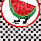Black White Checkered Watermelon Ant ~ Round Red Watermelon  ~ Bookmark 1 Dozen