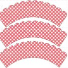 Pink Gingham ~ Cupcake Wrappers ~ Set of 1 Dozen