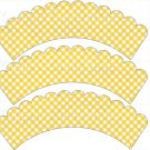 Yellow Gingham ~ Cupcake Wrappers ~ Set of 1 Dozen