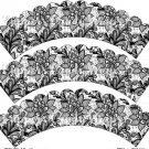Black & White Floral Lace ~ Scalloped Cupcake Wrappers ~ Set of 1 Dozen