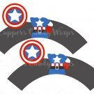 Captain America  Super Heroes ~ Cupcake Wrappers & Toppers Set ~ Set of 1 Dozen