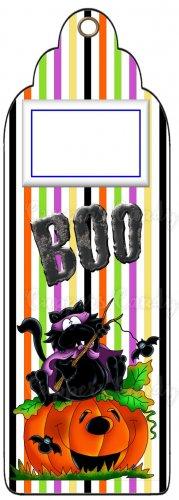 Candy Bar Gift Tag Purple Halloween Stripes Boo