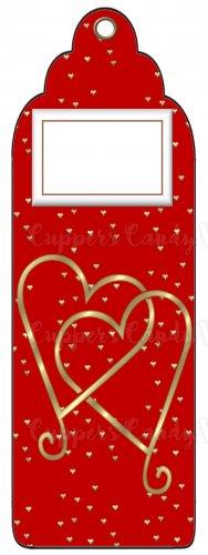 Candy Bar Gift Tag Wedding Metallic Gold Hearts