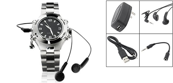 """Rock & Roll"" MP3 Quartz Wrist Watch 256MB (SDX-218) - Silver"