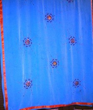 Light blue Crepe saree with gota patti, kundan and zari work