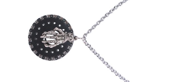 "Fashion Jewelry ""MEN's"" Mythical Sketelon Hand on Dark Disc Necklace"