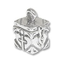Sterling Silver Prayer Box - Cross in Heart 19x13mm