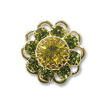 Swarovski Filigree 60860 Gold Plated Olivine/Lime