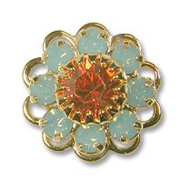 Swarovski Filigree 60860 Gold Plated Pacific Opal/Padparadscha