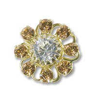 Swarovski Filigree 60870 Gold Plated Lt. Colorado Topaz/Crystal