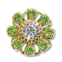 Swarovski Filigree 60870 Gold Plated Peridot/Crystal