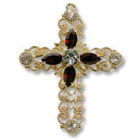 Swarovski Filigree 62016 Cross GP Shadow Crystal/Siam/Black Dmd
