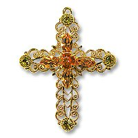 Swarovski Filigree 62016 Cross Gold Plated Lime/Topaz/Indian Red