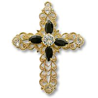 Swarovski Filigree 62016 Cross Gold Plated Crystal/Jet/Crystal