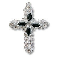 Swarovski Filigree 62016 Cross RP Crystal/Jet/Crystal