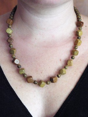Hand Carved Wooden, Beaded Necklace, Jewelry, Chain