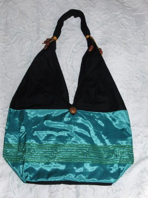 Eilat Purse, handbag, Turquoise Silk, Accessory, (medium)