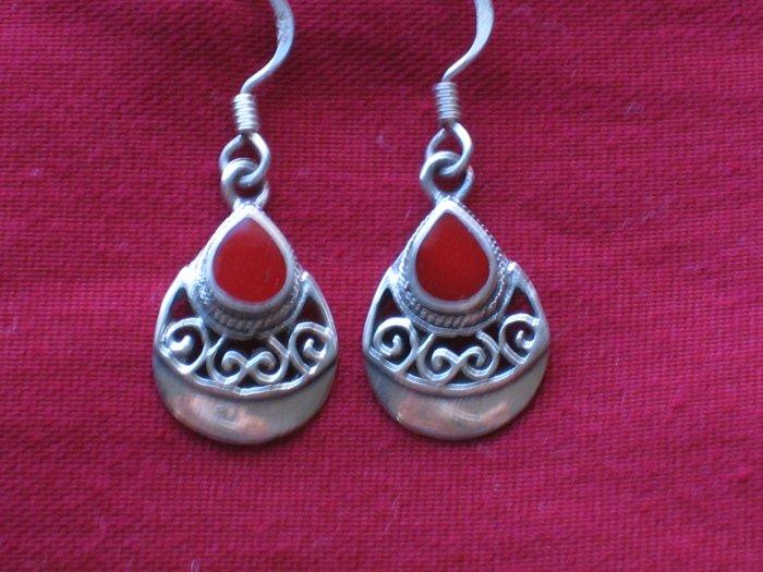 Red Jasper Stone Sterling Silver Earrings, Jewelry, Semi-Precious