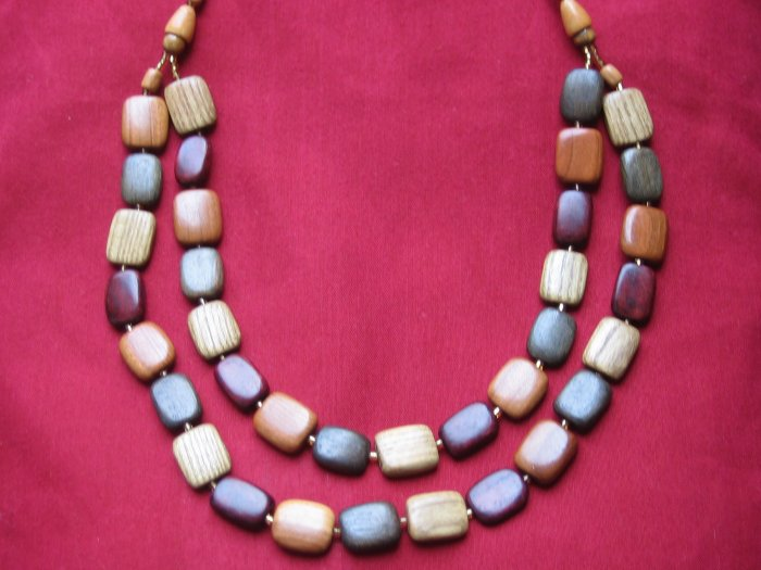 Hand-Carved Wooden Necklace, Jewelry, Chain