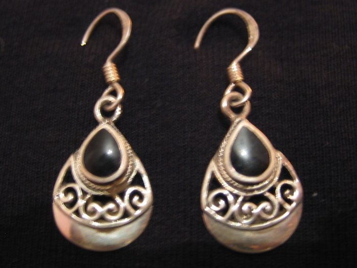 Black Onyx Stone Sterling Silver Earrings, Jewelry, Semi-precious Stone