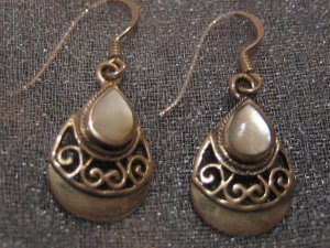 White Moon Stone Sterling Silver Earrings, Jewelry, Semi-precious Stone