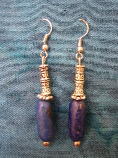 Lapis Lazuli Silver Earrings, Jewelry, Hand-made, Blue Lapis