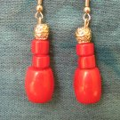 Red Coral Silver Earrings, Jewelry, Semi-Precious Stone, Hand-made